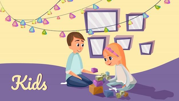 Desenhos animados crianças brincam de blocos de construção de madeira no chão Vetor Premium