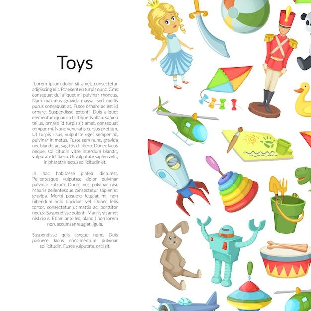 Desenhos animados crianças brinquedos copyspace Vetor Premium