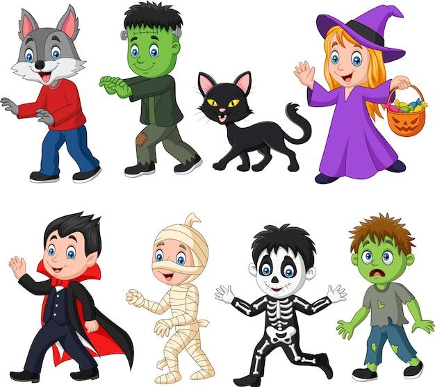 Desenhos animados crianças felizes com fantasia de halloween Vetor Premium