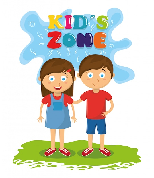 Desenhos animados da animação das crianças da zona dos miúdos Vetor grátis