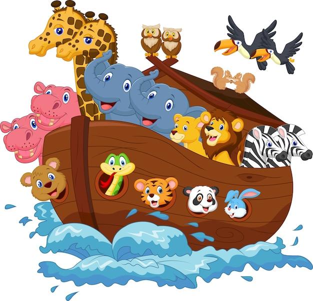 Desenhos Animados Da Arca De Noe Vetor Premium