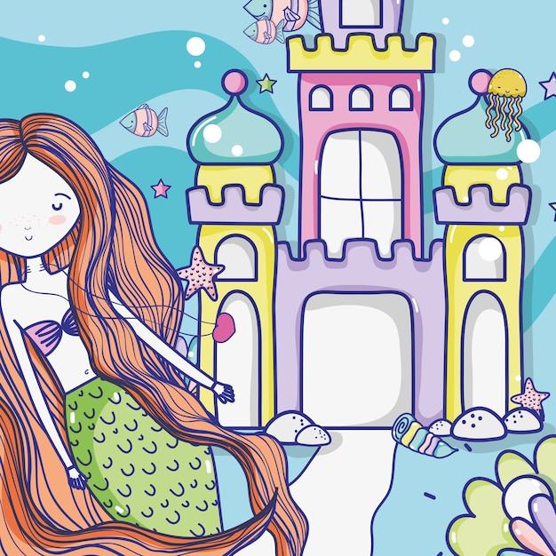 Desenhos animados da arte da sereia pequena Vetor Premium