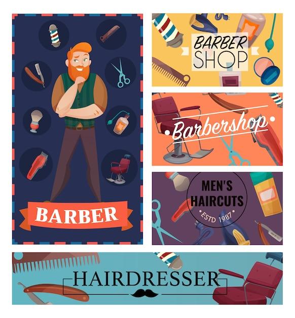 Desenhos animados da barbearia cartões Vetor grátis