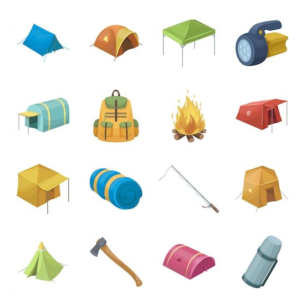 Desenhos animados da barraca e acampamento definir ícone. desenhos animados isolados viagens fogueira definir ícone. barraca e acampamento. Vetor Premium
