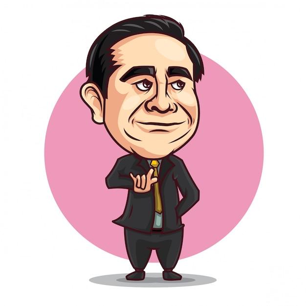 Desenhos animados da caricatura de prayuth chanocha. Vetor Premium