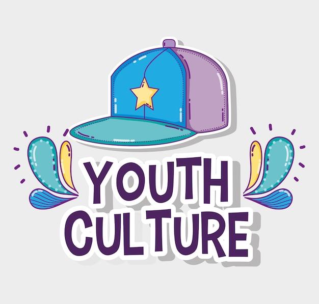 Desenhos animados da cultura da juventude chapéu legal Vetor Premium