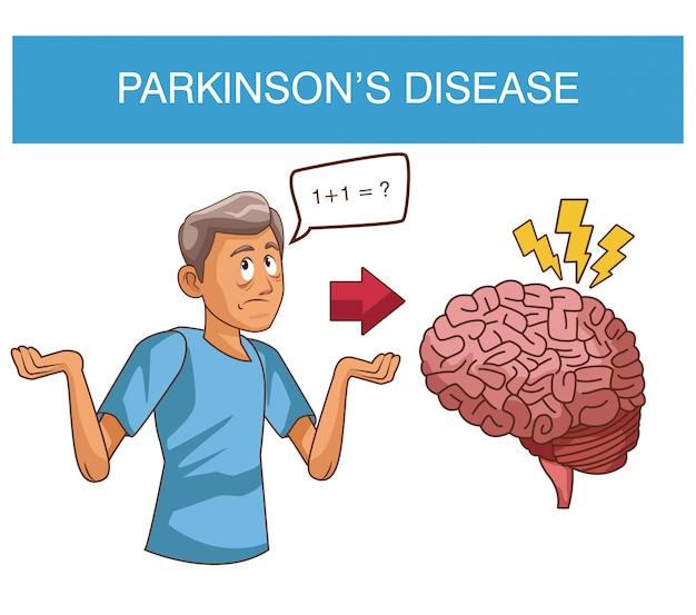 Desenhos animados da doença parkinsons Vetor Premium