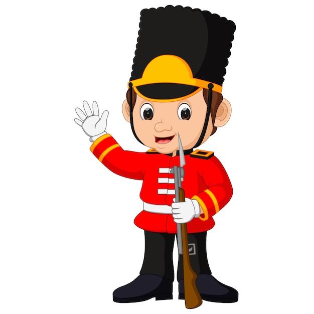 Desenhos animados da guarda britânica Vetor Premium