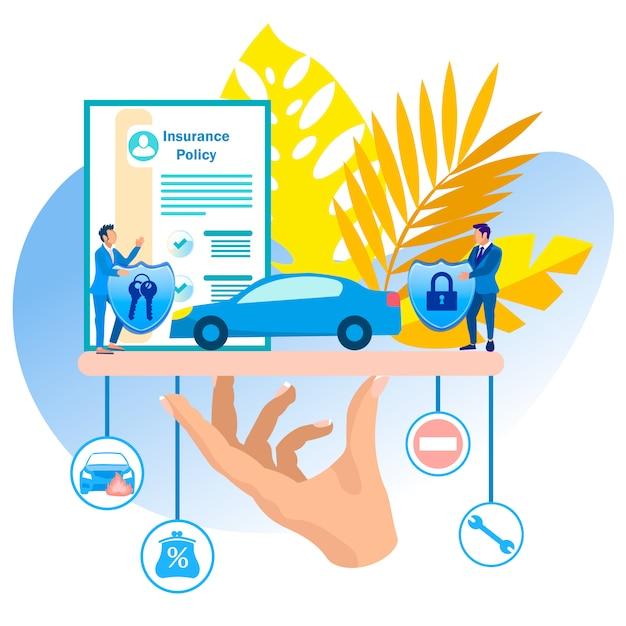 Desenhos animados da ilustração do vetor do seguro de veículo. Vetor Premium