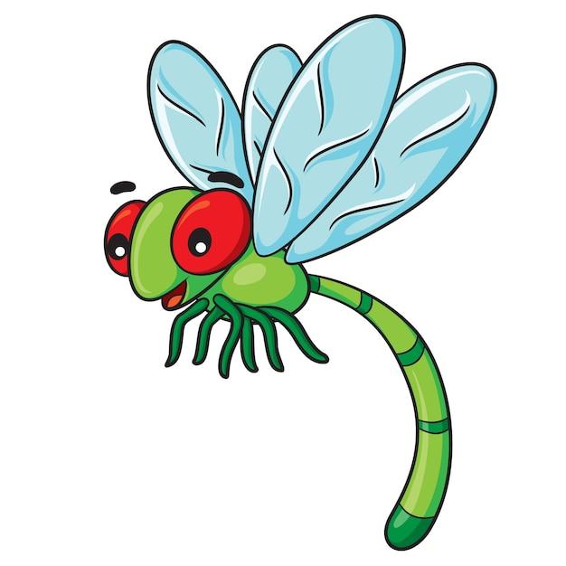 Desenhos animados da libélula Vetor Premium