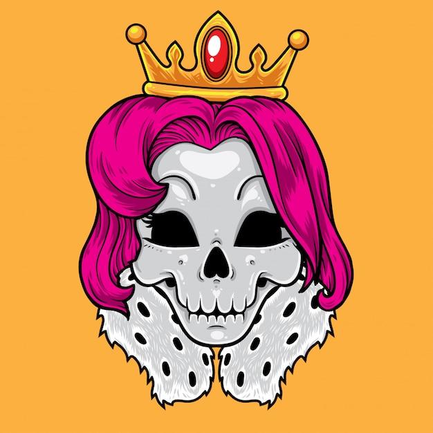 Desenhos animados da rainha do crânio Vetor Premium