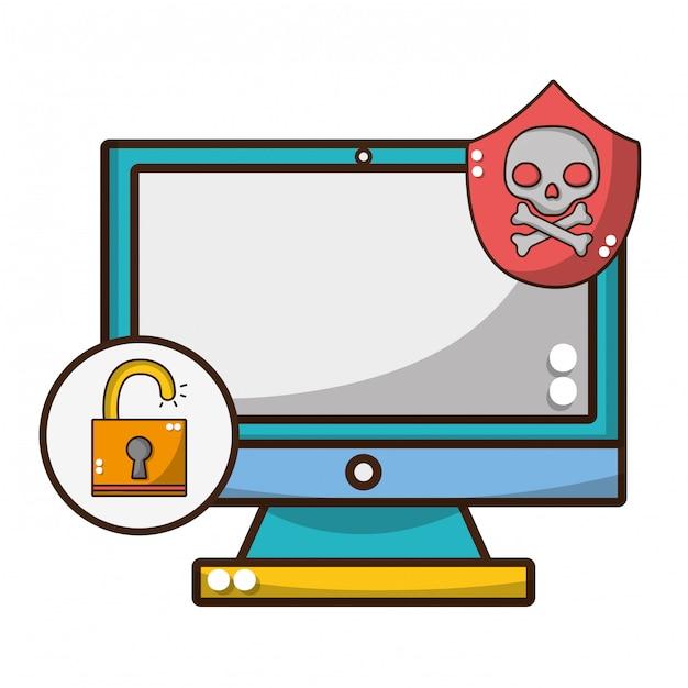 Desenhos animados de ameaça de segurança cibernética Vetor Premium