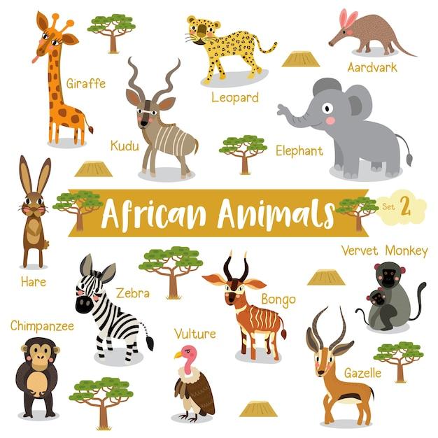 Desenhos animados de animais africanos com nomes de animais Vetor Premium