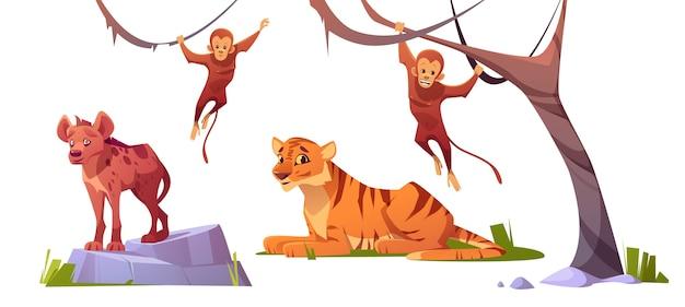 Desenhos animados de animais selvagens tigre, monleys e hiena Vetor grátis