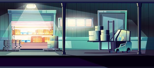 Desenhos animados de armazém comercial com trabalhador carregando carga com empilhadeira Vetor grátis