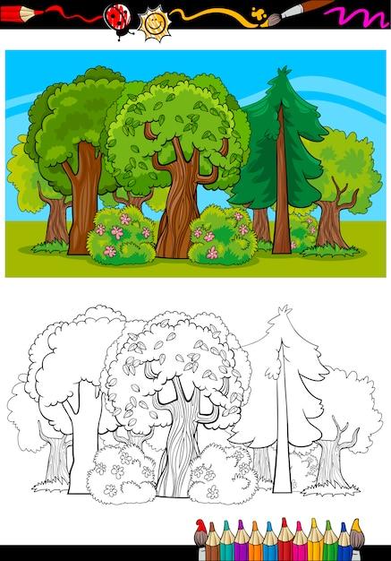 Desenhos Animados De Arvores E Floresta Para Colorir Livro Vetor