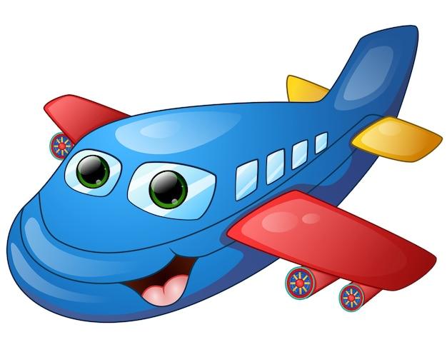Desenhos Animados De Aviao Feliz Vetor Premium