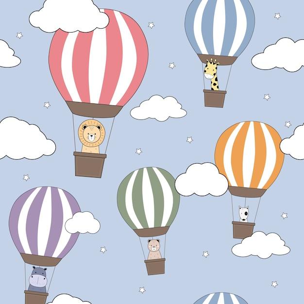 Desenhos animados de balão de ar quente de animais fofos doodle padrão sem emenda Vetor Premium