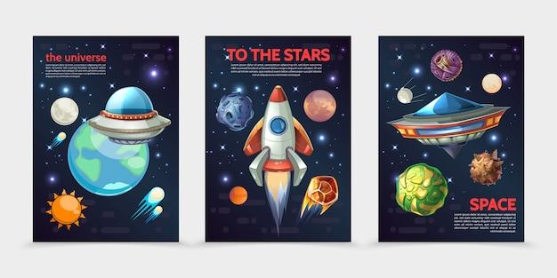 Desenhos animados de banners verticais de espaço colorido com foguetes ufo naves espaciais sol terra diferentes planetas asteróides Vetor Premium