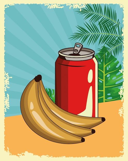 Desenhos animados de bebida refrescante Vetor Premium
