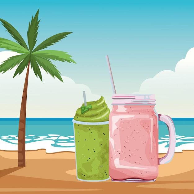Desenhos animados de bebida tropical smoothie de frutas Vetor grátis