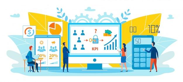 Desenhos animados de cálculo de desempenho de estratégia Vetor Premium