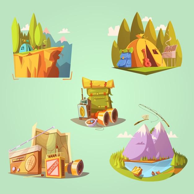 Desenhos animados de caminhadas conjunto com guitarra de tenda e comida na ilustração vetorial de fundo verde isolado Vetor grátis