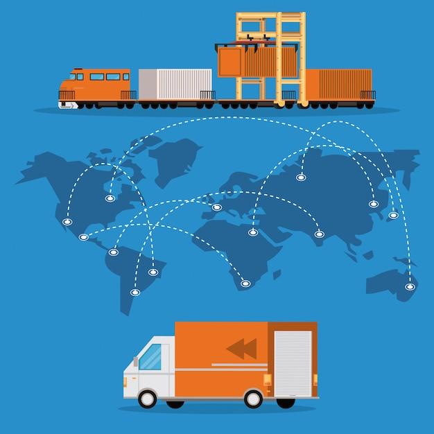 Desenhos animados de carga logística de mercadoria de transporte Vetor grátis