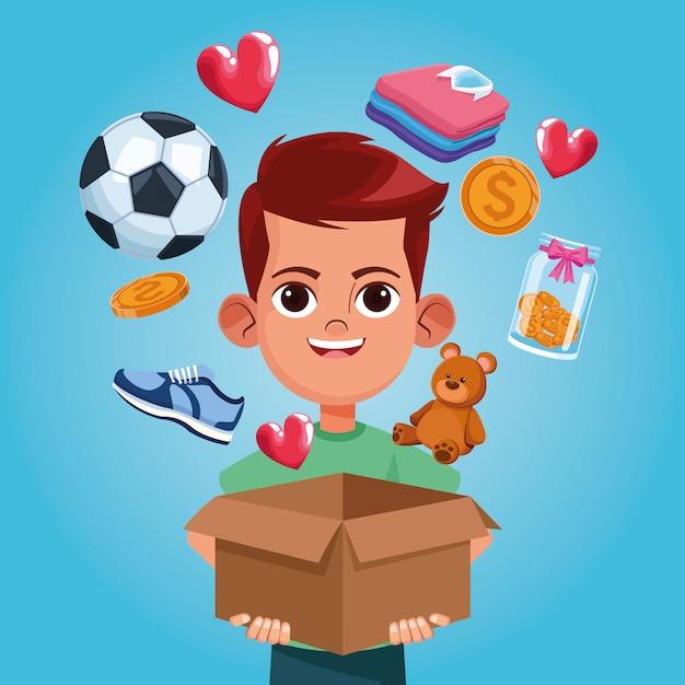 Desenhos animados de caridade de doação de criança Vetor Premium