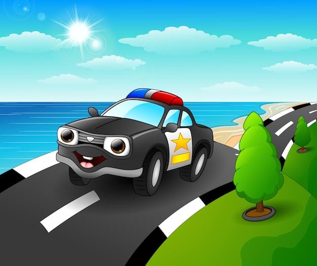 Desenhos Animados De Carro De Policia Na Estrada A Beira Mar