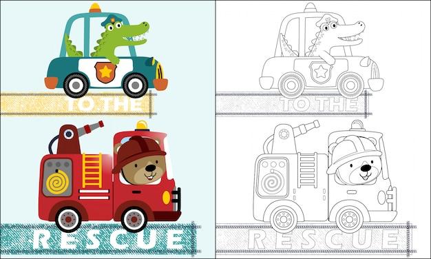 Desenhos animados de carros de equipe de resgate com motorista engraçado Vetor Premium
