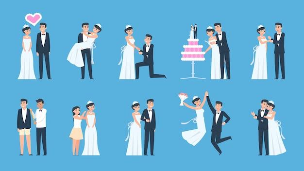 Desenhos animados de casal de noivos em diferentes cenas, preparando e celebrando Vetor Premium