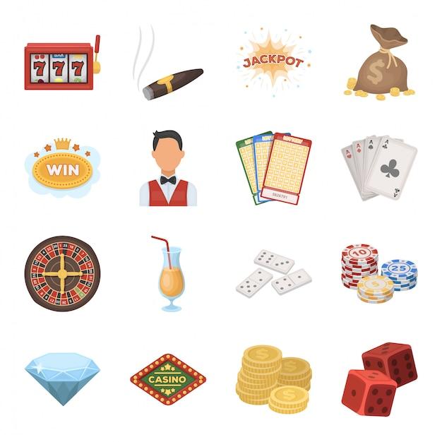 Desenhos animados de cassino e apostas definir ícone. jogo de ilustração do jackpot. desenhos animados isolados definir ícone cassino e jogos de azar. Vetor Premium