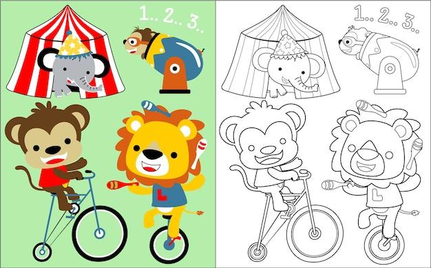 Desenhos animados de circo de animais Vetor Premium