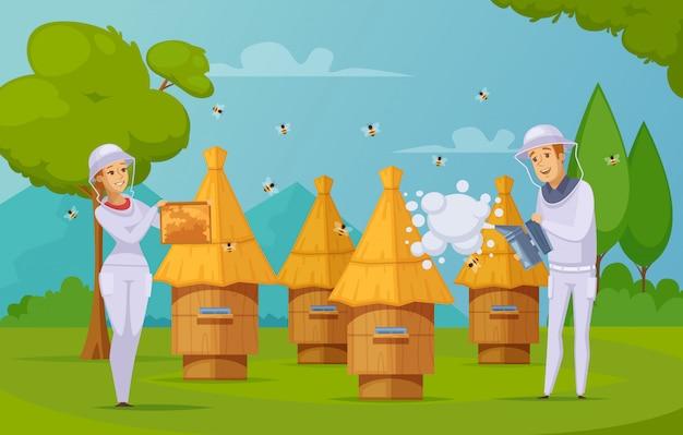 Desenhos animados de coleta de mel de fazenda de abelha Vetor grátis