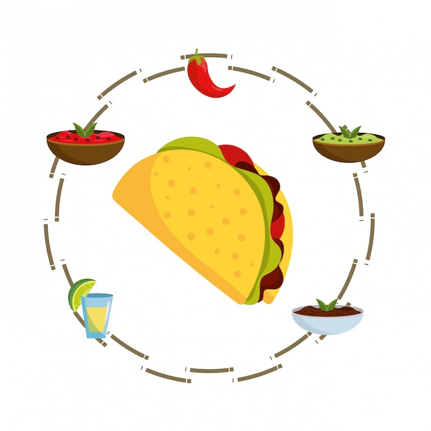 Desenhos animados de comida mexicana deliciosa Vetor Premium