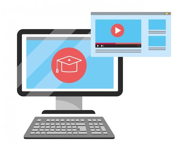Desenhos animados de computador de educação on-line Vetor Premium