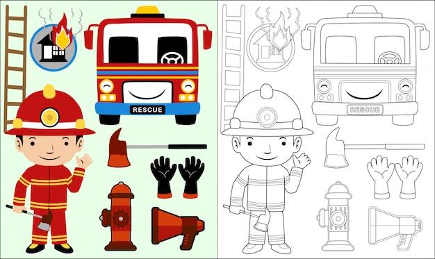 Desenhos animados de conjunto de equipamentos de fogo Vetor Premium
