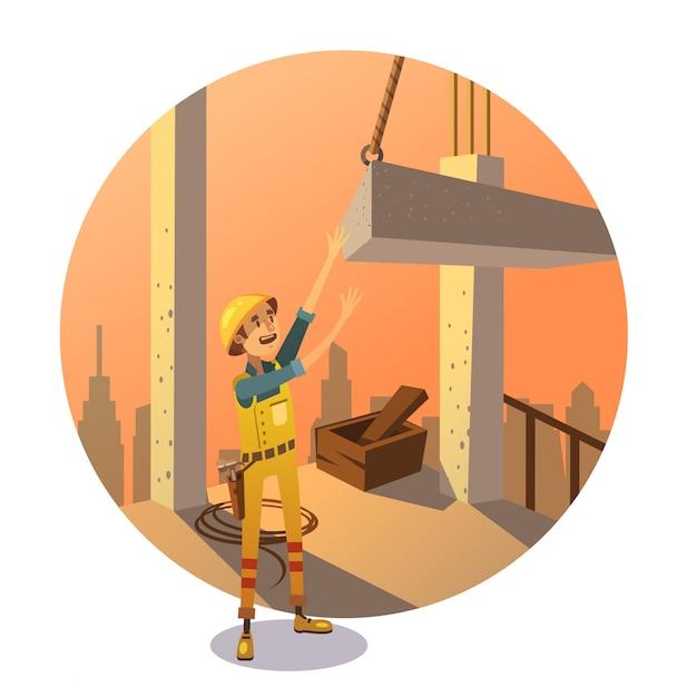 Desenhos animados de construção retrô Vetor grátis