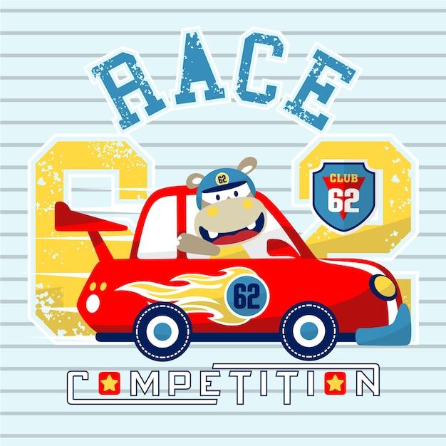 desenhos animados de corrida de carros com piloto bonito em fundo