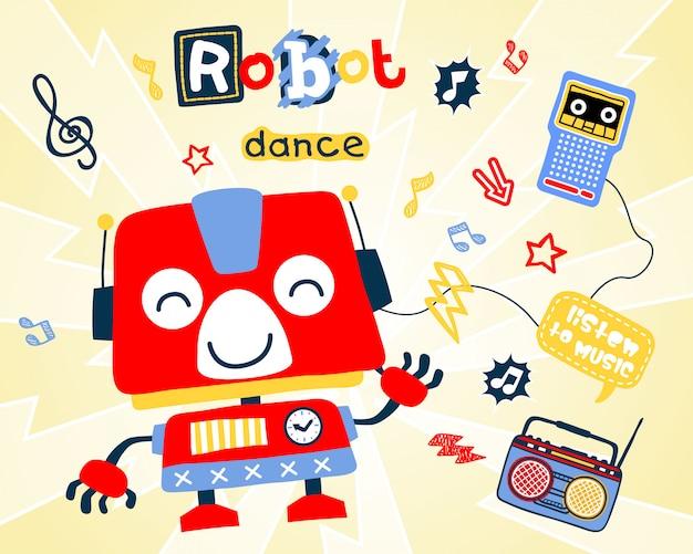 Desenhos animados de dança do robô Vetor Premium