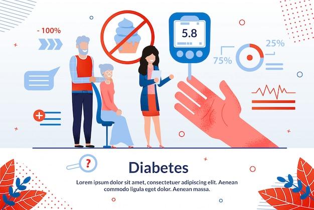 Desenhos animados de diabetes de inscrição informativa. Vetor Premium