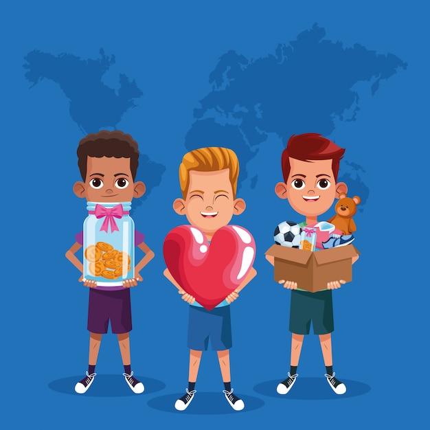 Desenhos animados de doação e caridade de crianças Vetor Premium