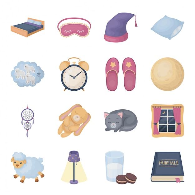 Desenhos animados de dormir e descansar definir ícone. desenhos animados isolados definir ícone sonho. ilustração sono e descanso. Vetor Premium