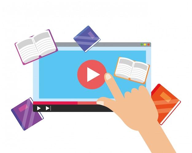 Desenhos animados de elementos de educação on-line Vetor Premium