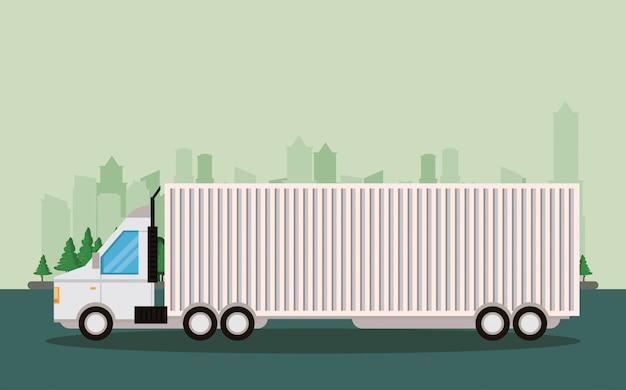 Desenhos animados de entrega de mercadoria logística de caminhão Vetor grátis