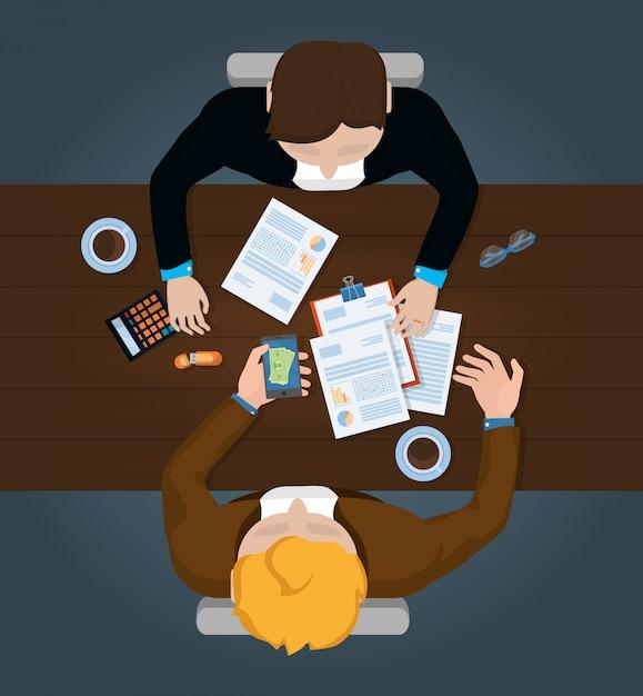 Desenhos animados de finanças pessoais de negócios Vetor Premium