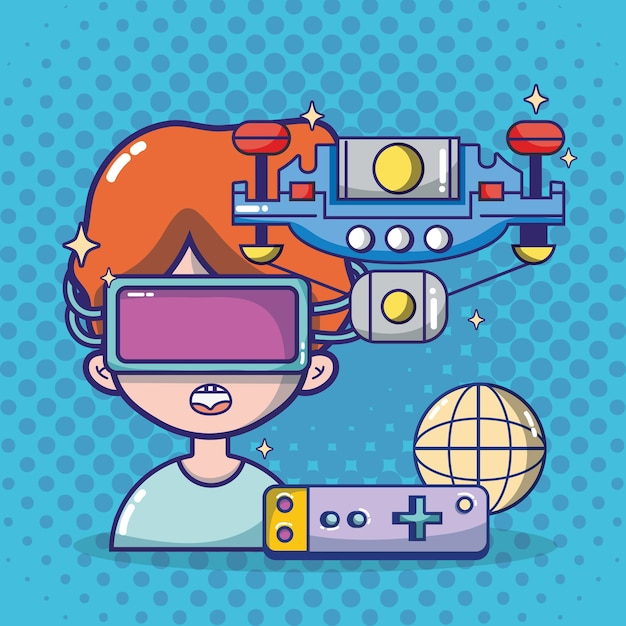 Desenhos animados de fone de ouvido de realidade virtual Vetor Premium