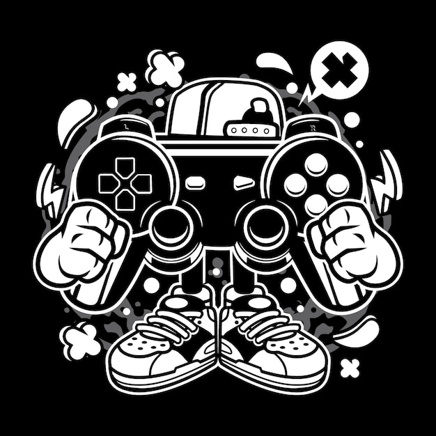 Desenhos animados de gamer de rua Vetor Premium