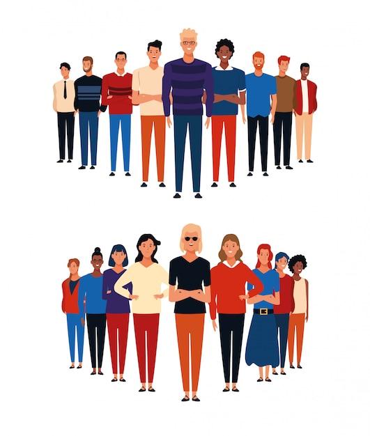 Desenhos animados de grupos de pessoas Vetor Premium